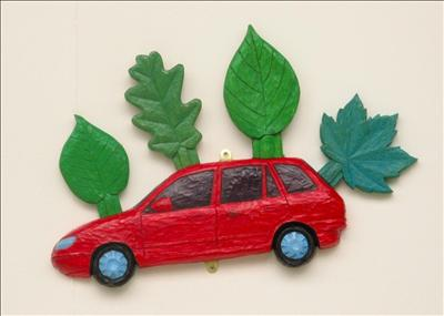Red Foliate Car