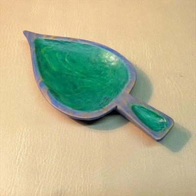 Small Leaf Dish, in blue and green