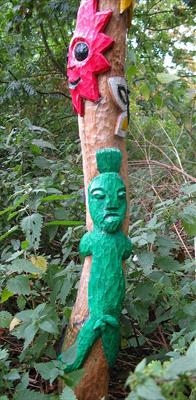 The BAB Totem Poles at Inter-Action, a close up detail