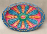 Fruity Jazz Oval Platter by Jeremy Turner, Wood, carved wood relief