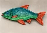 Green Diving Roach Fish Dish by Jeremy Turner, Wood, carved wood