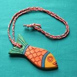 Red Fish Pendant by Jeremy Turner, Wood, sycamore wood