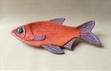 Red Roach Fish Dish by Jeremy Turner, Wood, carved & painted ash