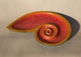 Red Spiral Dish by Jeremy Turner, Wood, carved and painted ash