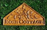 Rose Cottage, House Sign by Jeremy Turner, Sculpture, Oak