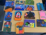 Selection of children's carved plywood tablets by Jeremy Turner, Sculpture, Wood