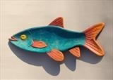 Slim Roach Fish Dish, turquoise&orange by Jeremy Turner, Wood, painted ash