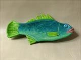 Stickleback Fish Dish, turquoise blue by Jeremy Turner, Wood, carved and painted wood