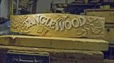 Tanglewood House Sign, work in progress by Jeremy Turner, Wood