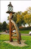 The Broughton Village Sign by Jeremy Turner, Sculpture, Oak