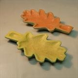 Two Oak Leaf Dishes, yellow & green, red & green by Jeremy Turner, Wood, oak