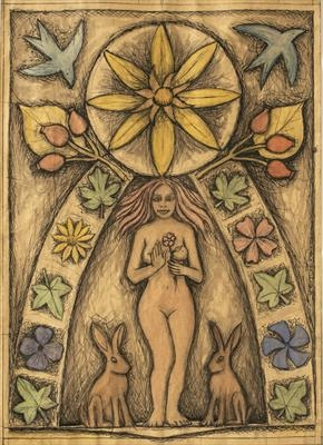 Holy Maiden Goddess of the Flowers and Fruit by Jeremy Turner, Drawing, ink and watercolour on paper