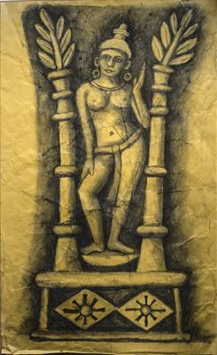 Yakshini with Trees in Leaf by Jeremy Turner, Drawing, Charcoal on Paper
