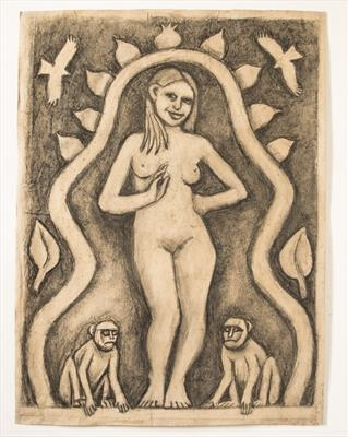 Young Woman with Monkeys attending by Jeremy Turner, Drawing, Charcoal on Paper